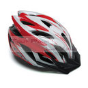 Casque velo ges flow rouge-blanc in-mold taille 58-62 avec visiere et system fast lock