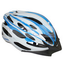 Casque cycliste ges wind blanc-bleu in-mold taille 58-62 avec visiere et system quick lock